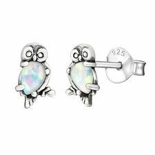 Silver Stud Earring Owl White Opal 925 Sterling Silver Stud Earrings