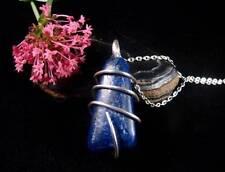 Afghanistan Blue Lapis Lazuli Quartz Crystal Pendant in Sterling Silver #57