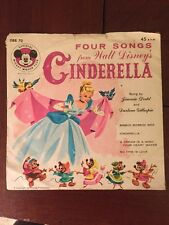 Walt Disney's CINDERELLA - Mickey Mouse Club 45 RPM Record Four Songs - DBR 70