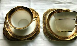 TWO Sets ROSLYN CHINA R & Co England TEACUP, SAUCER, SIDE PLATE Heavily gilded.