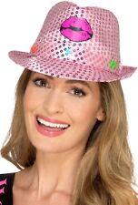 donna si illumina ROSA Cappello di feltro paillettes HEN accessorio per costume