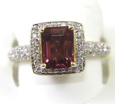 Emerald Cut Pink Tourmaline & Diamond Solitaire Ring 14k Yellow Gold 2.83Ct