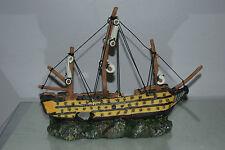Stunning Aquarium Detailed Old Galleon With Sails Decoration 33 x 10 x 28 cms