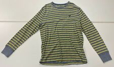 American Eagle Outfitters Mens Gray Yellow Striped Thermal Long Sleeve Shirt XL