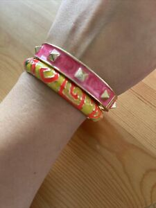 Set Of Two Enamel Bangle Bracelets