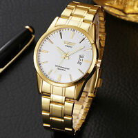 Men's Classic Gold Stainless Steel Band Analog Quartz Date Wrist Watch Nice New*