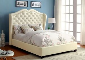 Ivory Color Padded Leatherette Headboard Queen Size Bed Bedroom Wooden Furniture