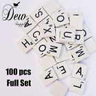 100 x White Wooden Scrabble Tiles letters - Weddings / Craft 1 Complete Set