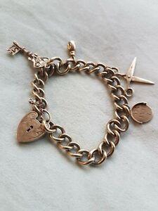 9ct gold womens charm bracelet 42g