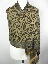 Pashmina Schal Tuch Stola Hijab Paisley 100% Viskose Ockergelb gewebt 183x70cm