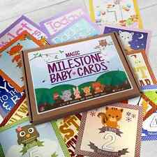 BABY SHOWER MILESTONE CARDS / PHOTO PROPS WOODLAND CREATURES GIFT BOX 26 CARDS
