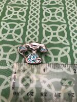 Vintage Rotary Old Fashioned Telephone Blue Rhinestone Pin FREE SHIPPING