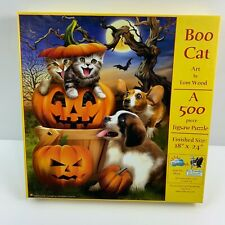 """SunsOut Puzzle-Boo Cat 500pc.Art by Thomas Wood 18"""" x 24"""" Finished Size Complete"""
