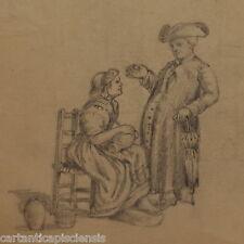 DISEGNO BOZZETTO DRAWING LAPIS SU CARTA 1800 FIGURE IN COSTUME STORICHE
