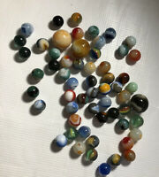 ESTATE SALE FIND Vintage & Antique Glass Marbles & Shooters 50 + Marbles mixed