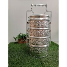Vintage Collection Thai Traditional Aluminium Silver Seal Brand Food Carrier