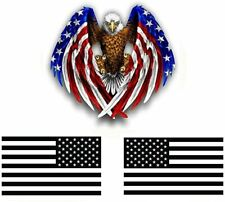 "American Flag Bald Eagle Vinyl Sticker Decal for Window, Cars, and Laptops 5""x 3"