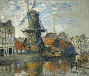 Claude Monet The Windmill on the Onbekende Gracht Amsterdam Giclee Canvas Print
