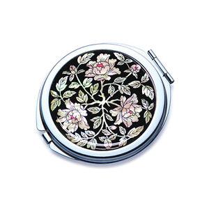 Kosmetik Taschenspiegel Handtaschenspiegel Silber Rund Luxus Edel Perlmutt Neu