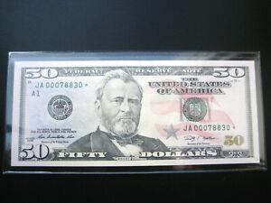 $50 2009 ***JA STAR***FEDERAL RESERVE CHOICE UNC BU NOTE 4 DIGIT SERLOW#OOO7883O