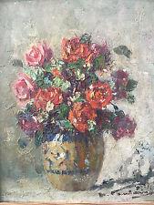 Bouquet de Fleurs Bunch Of Flowers Huile sur carton A identifer Peinture