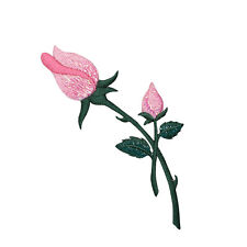 Pink Rose - Stem/Closed Buds 153110I - Iron on Applique/Embroidered Patch