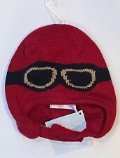 NWT Gymboree Baby Helicopter 3-6 Months Red Goggles Sweater Hat w/ Chin Strap