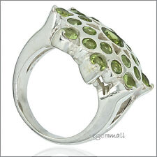 6.0ct Natural Peridot In Sterling Silver Heavy Cocktail Ring Size 9  #91038