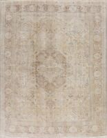 Antique Muted Geometric Distressed Tebriz Area Rug Evenly Low Pile Handmade 8x11