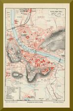 alter Stadtplan von +SALZBURG+ 1895 +Riedenburg,Mülln,Nonnenthal,Mozart,Festung+