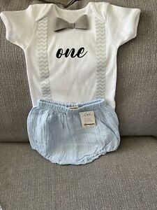 baby boy 1st birthday cake smash outfit handmade Blue /grey With Pants