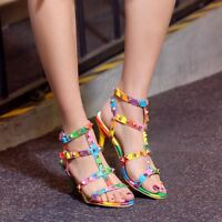 Women kitten heel sandals rainbow Rivet T strap open toe slingback plus sz shoes