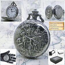 SILVER Antique Hunter Design Cover Men Quartz Pocket Watch Fob Chain Box 225