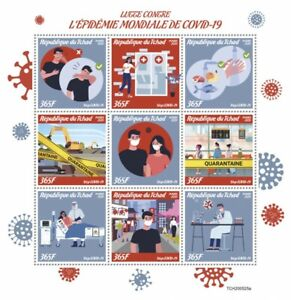 Chad Medical Stamps 2020 MNH Fight Against Corona Pandemic Health 9v M/S