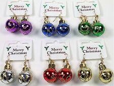 Novelty Christmas Coloured Bauble Motif Drop Dangle Earrings - Xmas Accessories