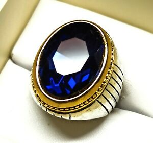 Silver Plated Solid Stunning Sapphire Pretty Men's Ring US Size 8 N-A62