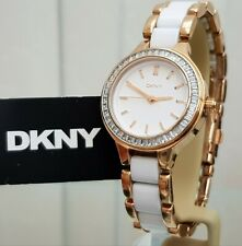 ** DKNY Ladies White Ceramic Watch Rose gold plated RRP£180 (497)