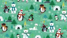 "Noël frosty scenic vert tissu de coton taille 22"" x 18"" grandes disponible"