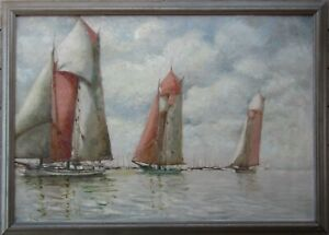 RARE Count Louis de Kerstrat Sailboats at Sea Large OLD Oil Painting NO RESERVE
