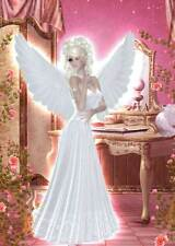 Bedroom Angel Birthday Card for women and girls gorgeous pink French bedroom