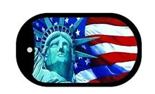 Statue of Liberty American Flag Aluminum Metal Dog Tag Pendant Necklace