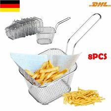 8 PCS Eckig Frittierkorb Pommes Küche Korb Frituese Pommesschale Servierkorb DHL