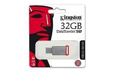 Memoria Pen Drive 32GB Kingston USB 3.0 DT50/32GB Alluminio Mini Penna USB Drive
