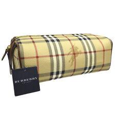 BURBERRY Check Pattern Clutch Bag Beige Black PVC Leather AK36834g
