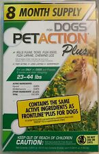 NEW PETACTION PLUS FOR DOGS 23 TO 44 LBS 8 DOSES 8 MONTH SUPPLY WATERPROOF BUY
