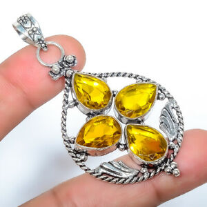 """Aaa+++ Citrine Gemstone 925 Sterling Silver Pendant Jewelry 2.46"""" S266"""