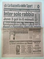 GAZZETTA DELLO SPORT 28-9-1989 INTER-MALMOE 1-1 MILAN JUVENTUS NAPOLI MARADONA