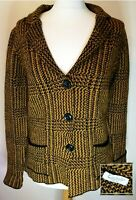 COCOGIO Italian wool blend knitwear jacket medium UK12 yellow black EU40 VGC!