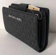 New Michael Kors Jet Set Travel Bifold Zip Coin wallet Signature PVC Black