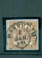 Baden, Wappen im Quadrat, Nr. 20 a, gestempelt auf Briefstück
